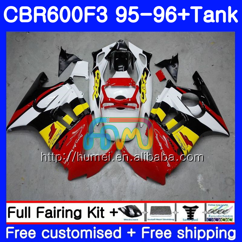 Body For HONDA red white CBR600RR F3 CBR600 F3 95 96 CBR600FS 13HM19 CBR 600F3 FS CBR600F3 CBR 600 F3 1995 1996 Fairing kit