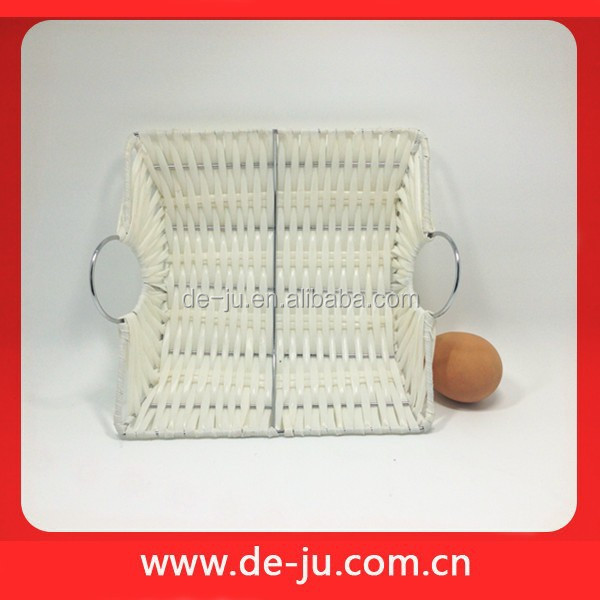 White Plastic Gifts Crafts Fruit Flat Square Cheap Cane Basket