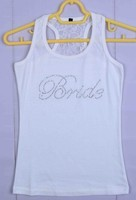 Hot sales Bride Rhinestone Motif Female Dri fit Fitness Singlets