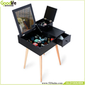 Black MDF dressing table with rubber wood stand