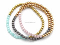 Titanium Stainless Steel Fashion Beads Bracelet Cat-eye Beads Beaded Stretch Handmade Bangle
