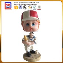 custom bobble head and resin cute baseball player bobble head for decor