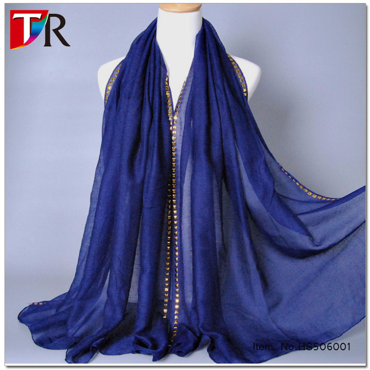 New style blue cotton hijab scarf trimmed with sparkling sequins /muslim scarves latest