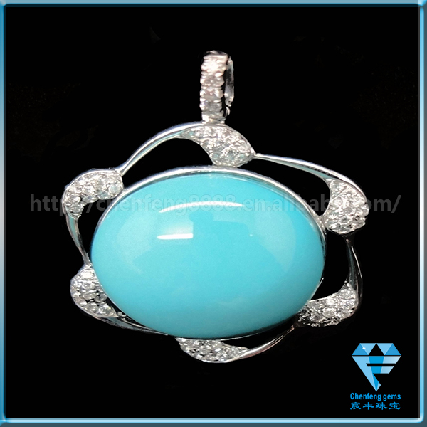 Loose Man Made Blue Turquoise Gemstones Cabochon Beads for Pendant