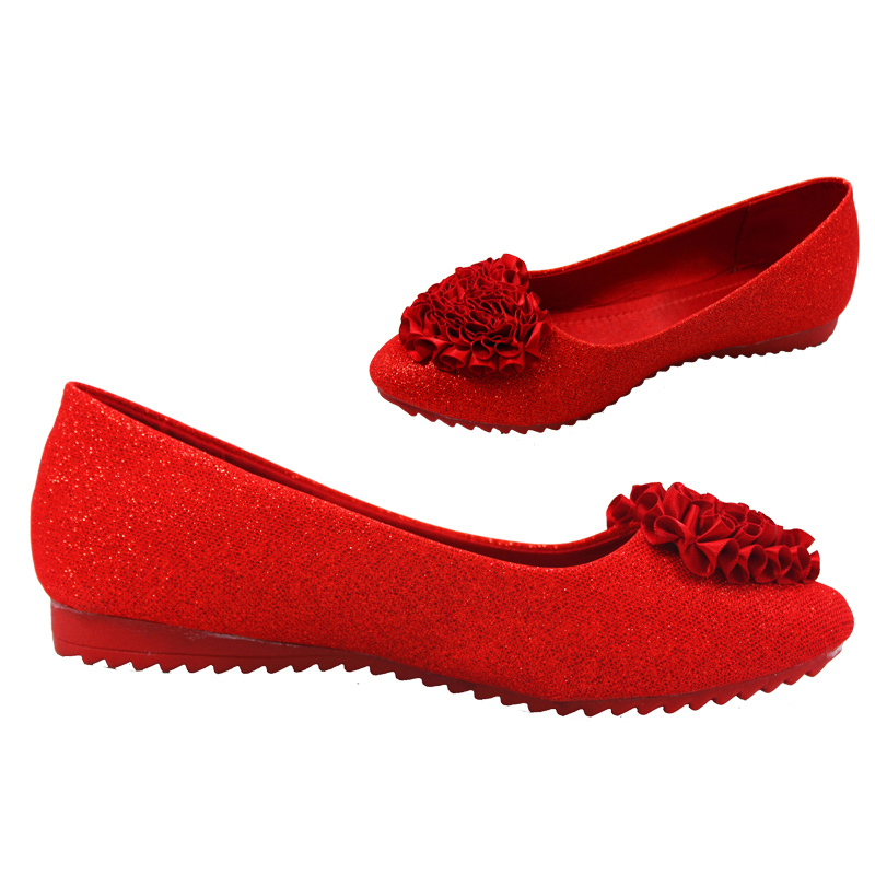 Flat bridal shoes flat with wedding shoes lace sequins flowers red women's singles pregnant women eleusine indica soft bottom
