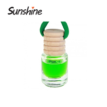 China perfume hanging car air freshener glass bottle with wooden cap