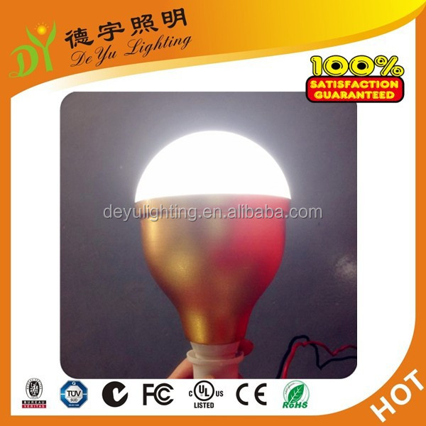 DC 85V gold color 9W LED Bulb with Clamps and Connection Cable for Solar System