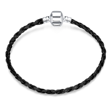 Custom Silver Plated Snap Clasp Snake Chain Leather Bracelets