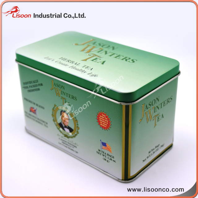 Rectangular Embossed Metal Tea Tin Can Box With Airtight Metal Lid