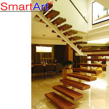 Popular Villa wrought iron stair / Steel Wood Stairs / staircase Glass Steel Stairs for sale China