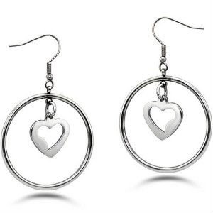 High Polish Stainless Steel Dangling Heart / Hoop Earrings