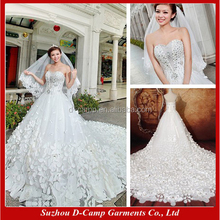 WD041 Fancy floral cathedral/ royal train turkish wedding dresses gown
