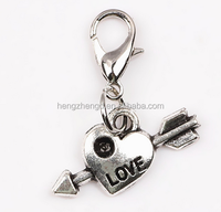 Wholesale vintage style jewelry silver a arrow through heart pendants with lobster clasp dangle charms for accessories