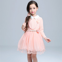 korean fashion clothes children girl fress collar frocks designs for winter, fall boutique girl clothing