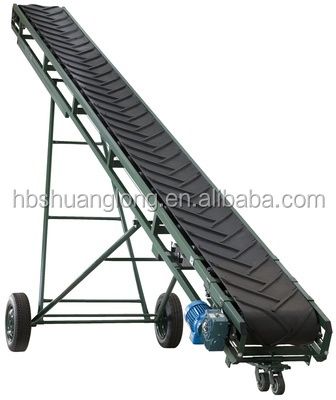 inclined portable belt conveyor for agriculturer conveying cereal and grain