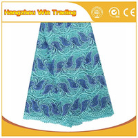 Turquoise Blue Nigerian Wedding Emboridery Chemical Lace in Dubai