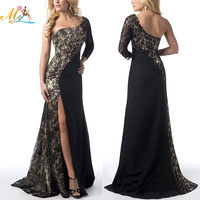 Latest design luxury cotton floor length long sleeve one shoulder black hollow out lace evening dresses for women