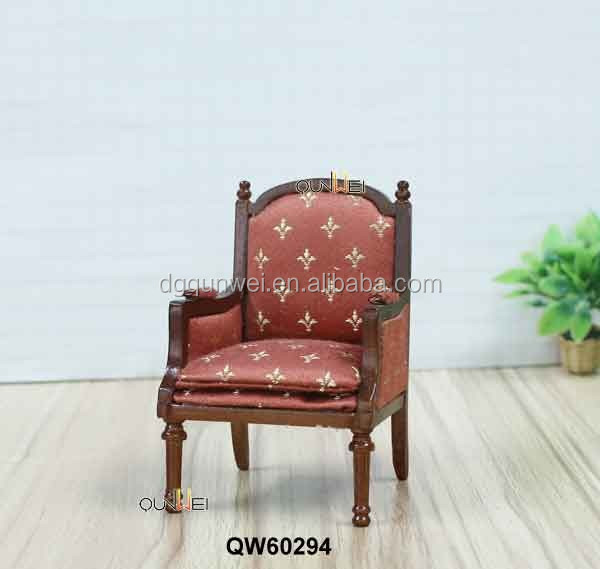 Vintage Fine Antique Velvet Miniature Doll House Wing Chair Handmade 1/12 Dollhouse Miniature Wooden Furniture QW60294