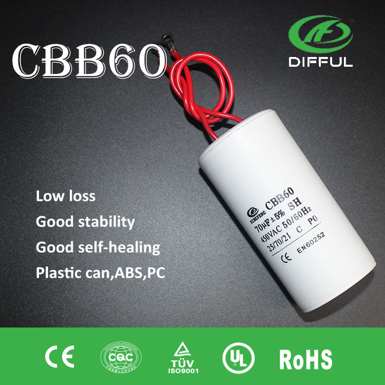 long-term durability low price capacitor cbb60 450V 70uf