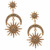 Fashionable large gold sun moon star earring, costume dangling star earrings, latest design moon and star earrings