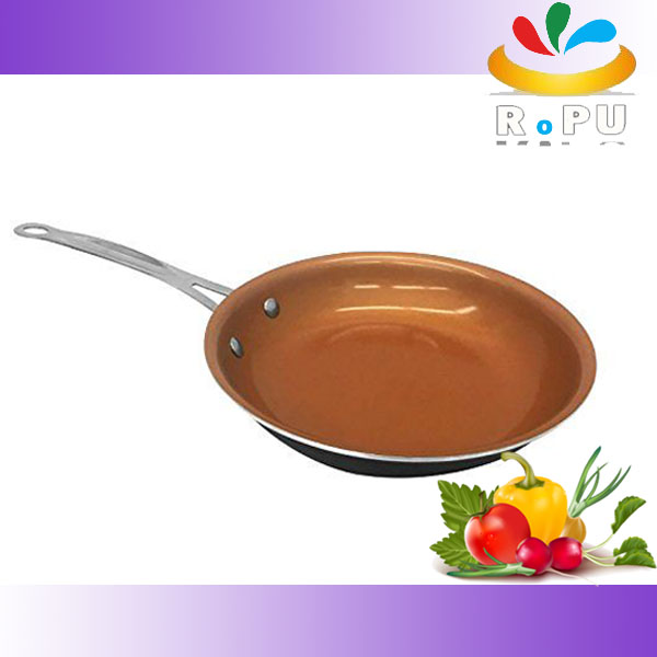 2016 New Aluminum Copper Color Ceramic Non-stick Titanium Frying Pan