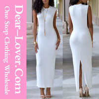 2015 trendy new design sexy women white wide armholes maxi jersey dress