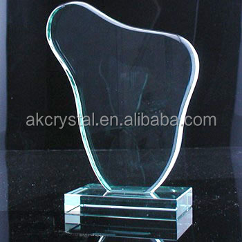 China factory supply Business Gift customerized Flame shape jade glass awards/wholesale blank glass award medal