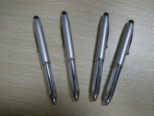 Advertising 3 In 1Metal LED Light Ball Pen With Stylus Touch For Smartphone Tablets