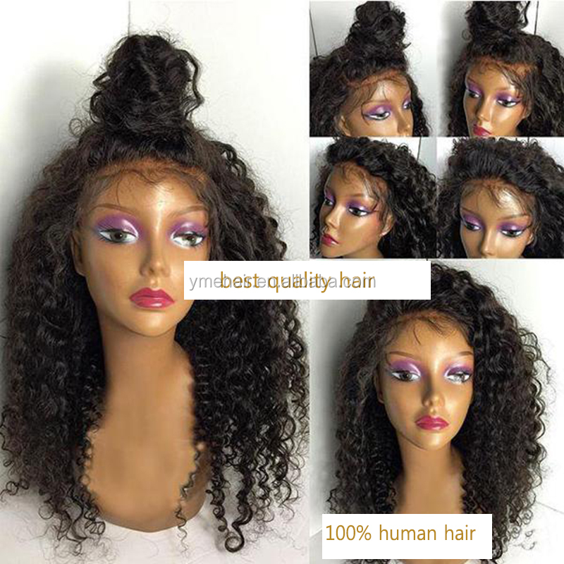 Top selling long peruvian curly human hair wigs virgtin natural black quality curly human wigs 4 cap style can be choosed