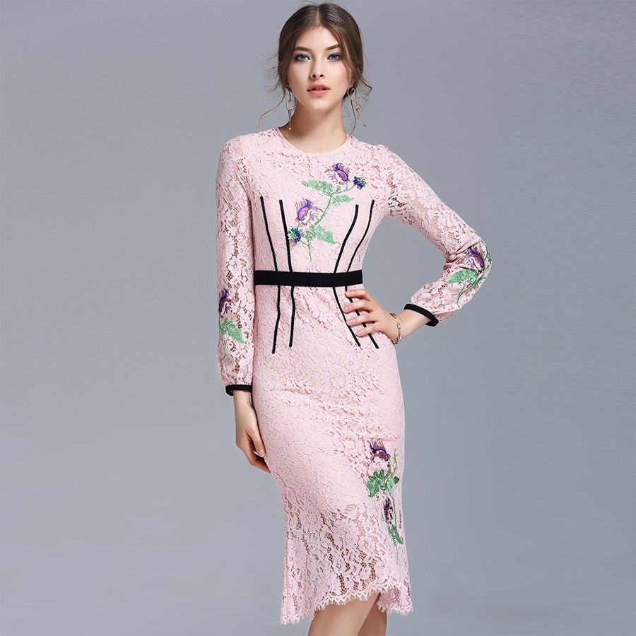 Sweet Pink Lace <strong>Dress</strong> Women Spring 2017 Long Sleeve Slim Purple Floral Embroidery Casual Fashion Sheath High Quality <strong>Dress</strong>