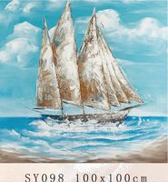 SY098 boat scenery oil painting, oil painting sail boat on canvas for wall decoration