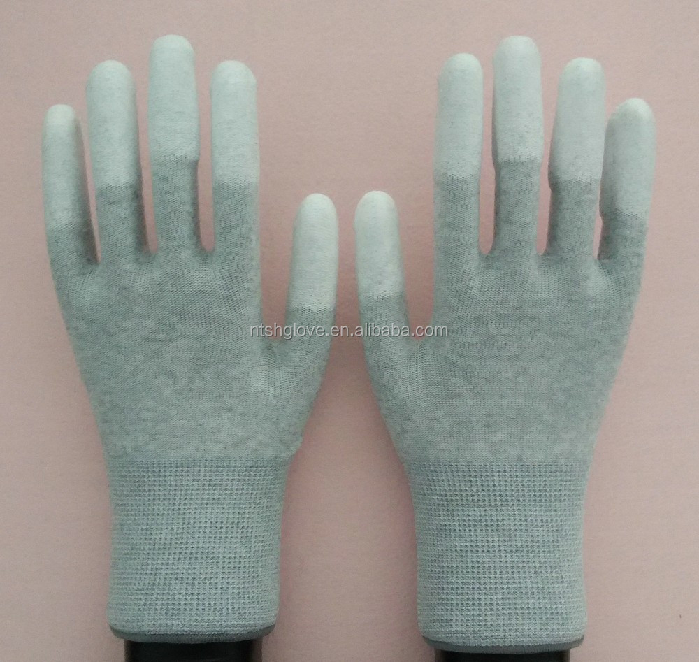 grey nylon PU esd top fit gloves electrical safety gloves
