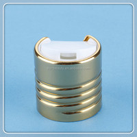 24/410 gold Aluminum screw metalized disc top cap for cosmetic bottle