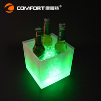 Alibaba manufacturer double layer square carlsberg led beer ice bucket