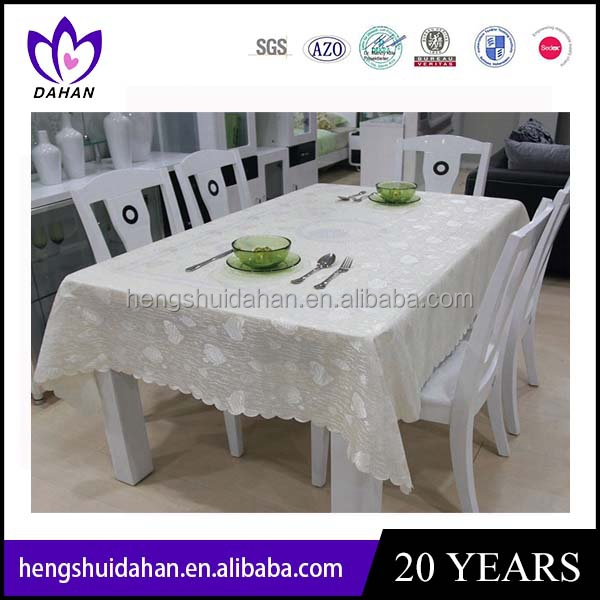 white plain color polyester / cotton table cloth