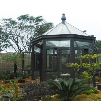DIY movable prefabricated garden house design curved sunroom for sale