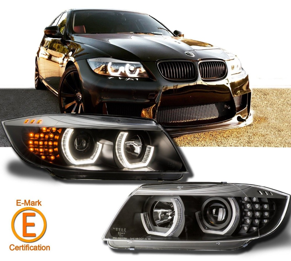 Black Headlights Halo Projector For E90 E91 3-Series LED DTM Style 09-12