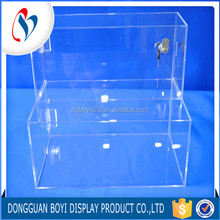 Manufacturer OEM/ODM 2 Tiers Large Lockable Acrylic Storage Compartment