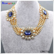 Nativa Gems Marquise Sapphire Gold Chain Necklace LDN5718