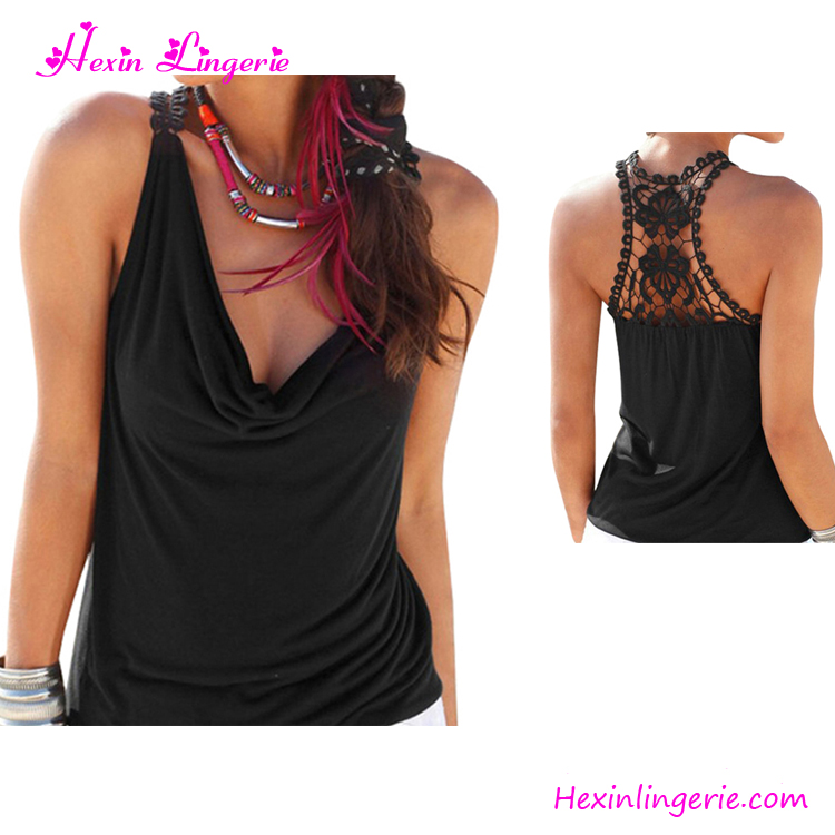 Black V-neck Back Lace 2017 Stringer Women Sexi Top