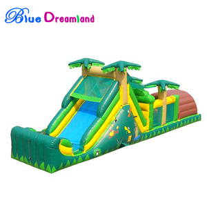 Custom made dry dual lane inflatable obstacle course jungle