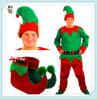 Cheap Felt Christmas Party Santa Helper Mens Elf Costumes HPC-2441
