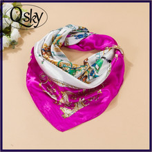 Pink Wholesale Custom Lady's 100 Silk Satin Square Scarf with Low Price