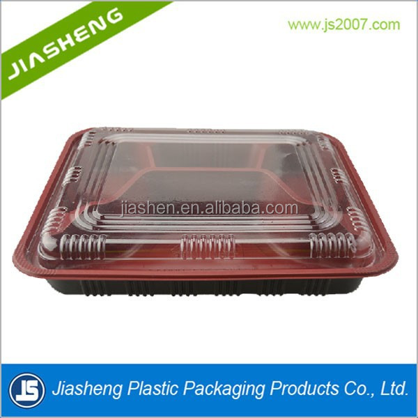 Disposable plastic bento food tray with 5 compartment with lids