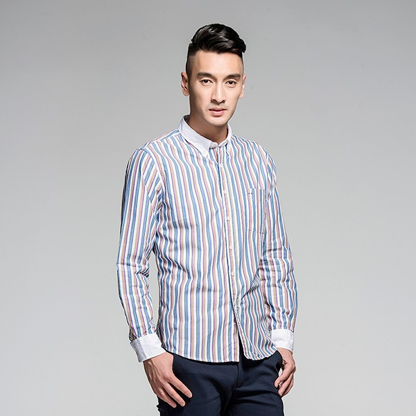 Alibaba factory wholesale asian size stripe button down long sleeve shirt for men
