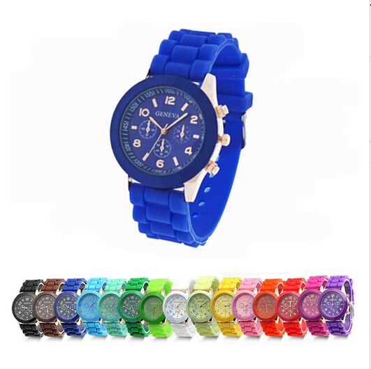 Fashion Women's Geneva Silicone Jelly Gel Quartz Analog Wrist Watch China Cheaper Watches