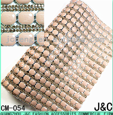 10*12 octagon apricot color resin stone and rhinestone hot fix sheet