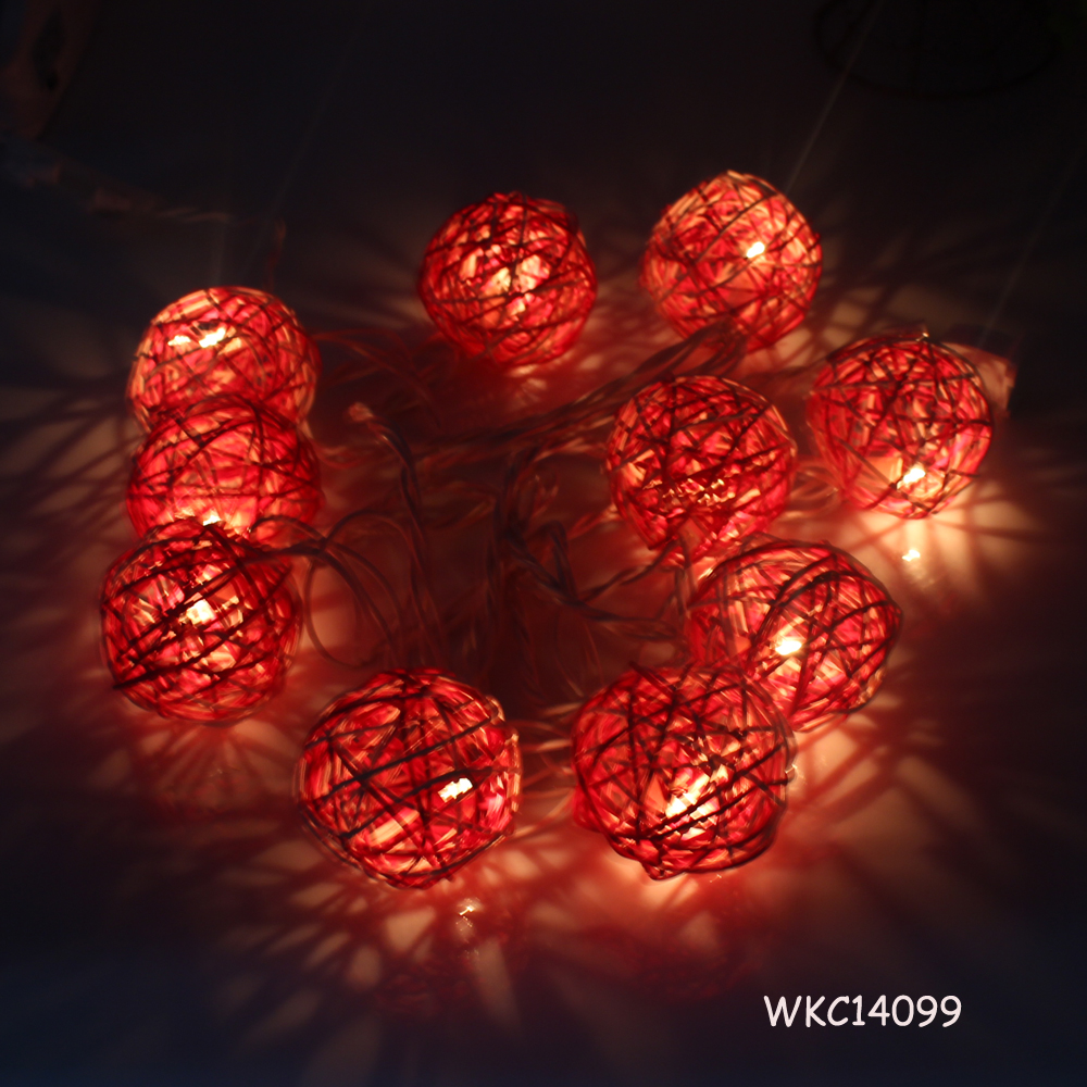 Eco-friendly natural changing style led garden rattan ball string lights wholesale