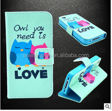 Cute Cartoon PU Leather Flip Book Stand Wallet Case TPU Phone Bag With Holster cartoon cartoon owl case For iphone 6 4.7 inch