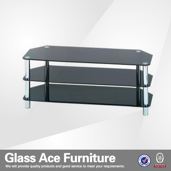 cheap tempered glass 3-tier mirror tv cabinet
